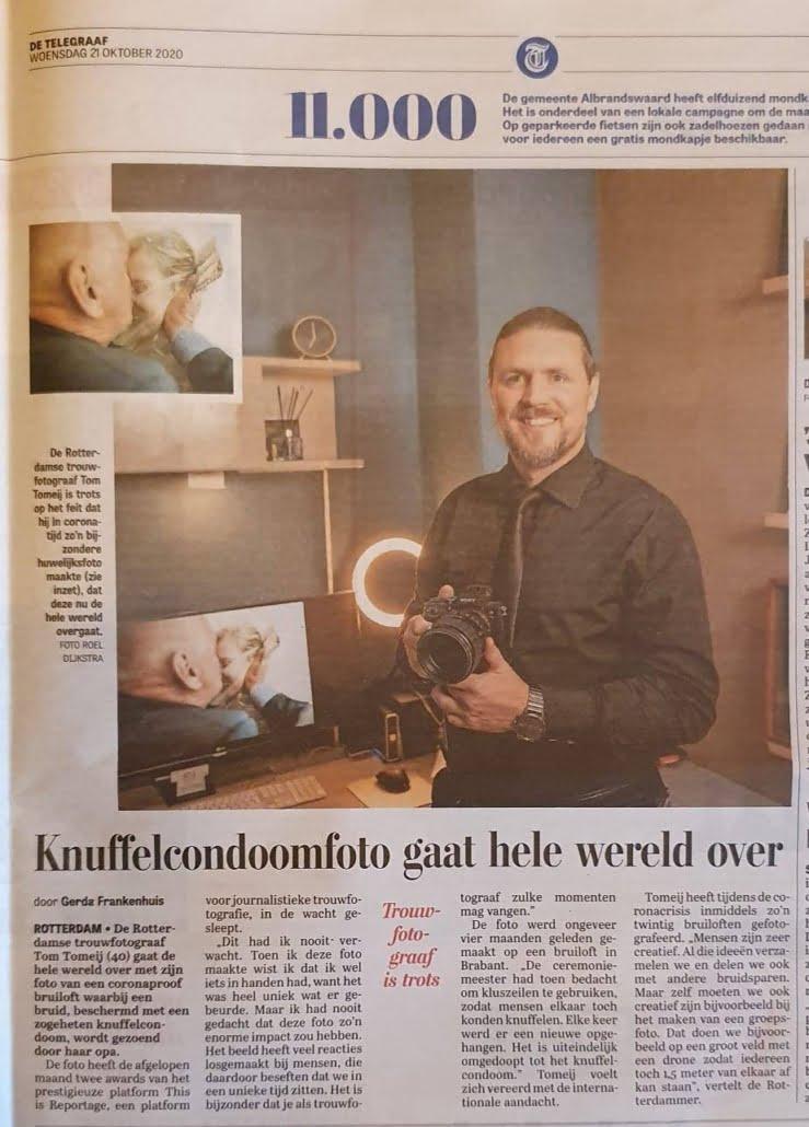 corona bruiloft Telegraaf Tom Tomeij